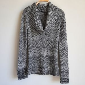2/$15 Maurices Gray Chevron Cowl Neck Sweater - M